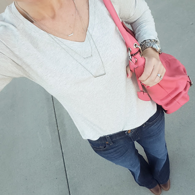 Old Navy Tee (I found this in store for $2!) // 7 For All Mankind Dojo Jeans - 30% off! // Nine West Booties (similar) // Jessica Simpson Handbag (similar) // ILY Couture Necklace // Michael Kors Runway Watch // Saks Off Fifth Link Bracelet - only $10, regular $25!
