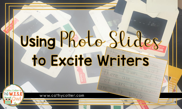 Using old slides for story starters is such a great idea. So excited to share first grade teacher, Jessica Watts, idea for a fun writing lesson.