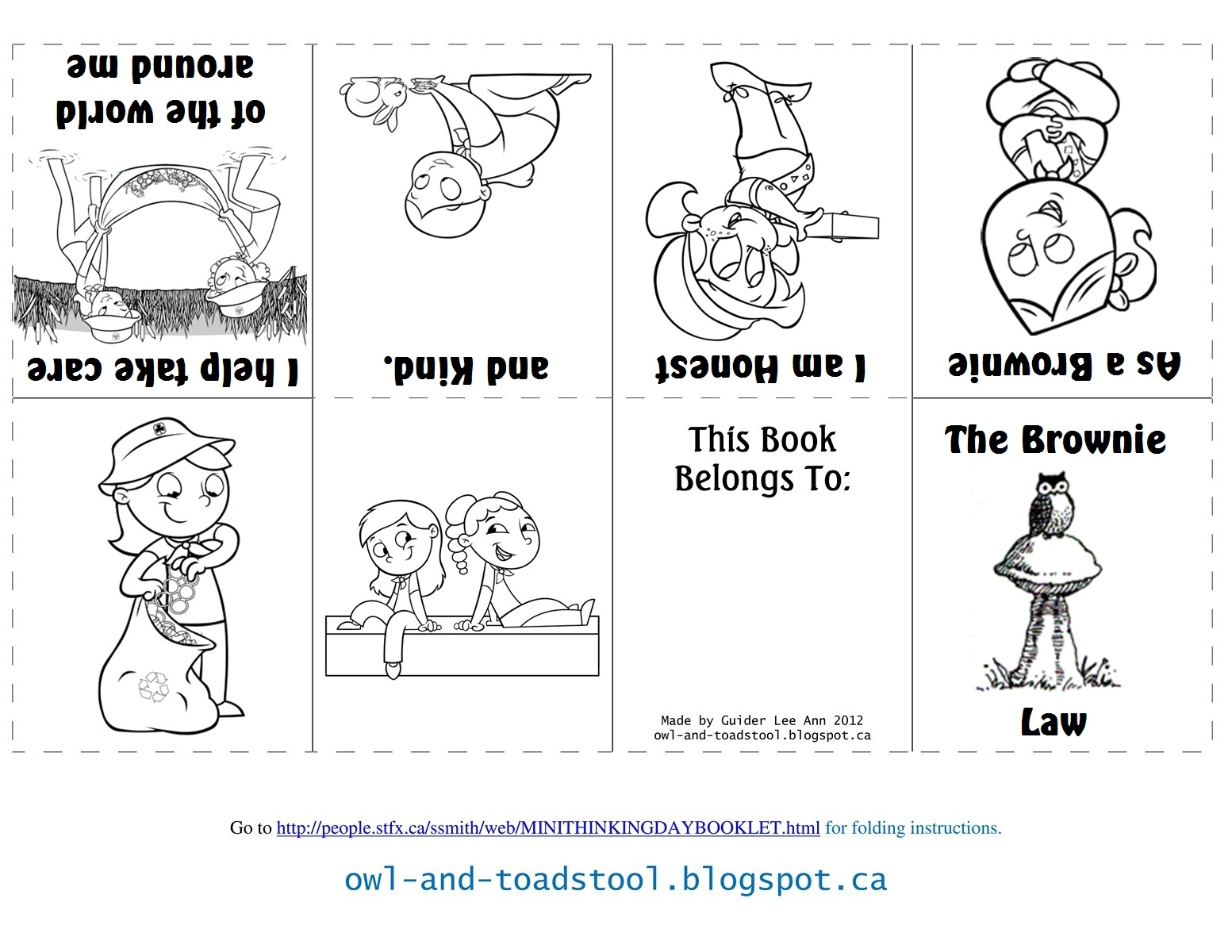 Owl amp Toadstool Brownies Promise Law Minibooks