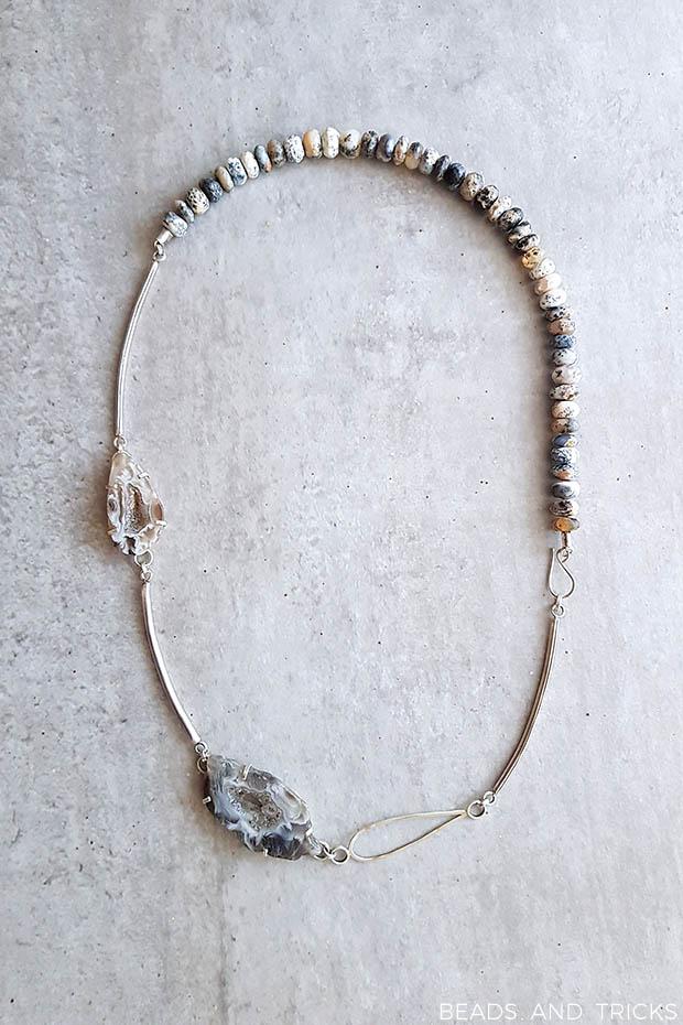 collana in argento, quarzo dendritico e agata grezza