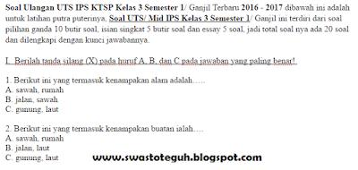 Soal Ulangan UTS IPS KTSP Kelas 3 Semester 1/ Ganjil Terbaru 2016