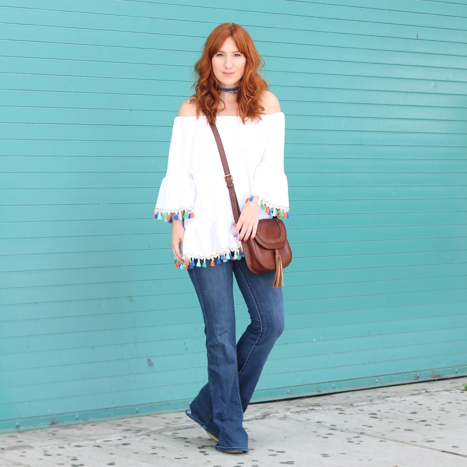 off the shoulder outfit ideas, tassels, bright colored tops, how to wear off the shoulder tops, how to wear flare jeans, outfit ideas, style, outfits