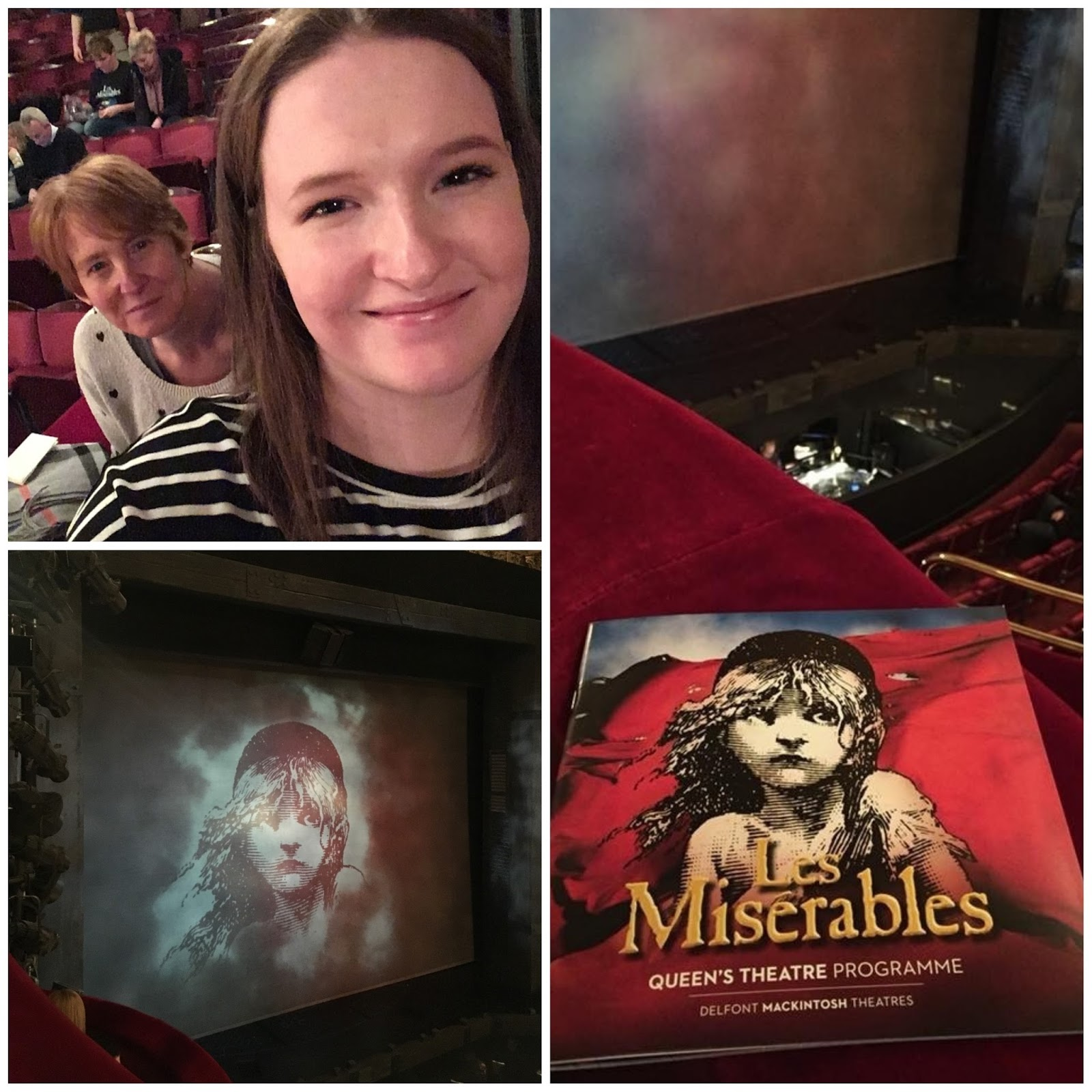 This is a collage of photos. Image one shows Shona, smiling, with her Mum seen smiling behind her, the photo is a selfie. The other 2 photos show the interior of a theatre, with a programme for Les Miserables in one of the photos.