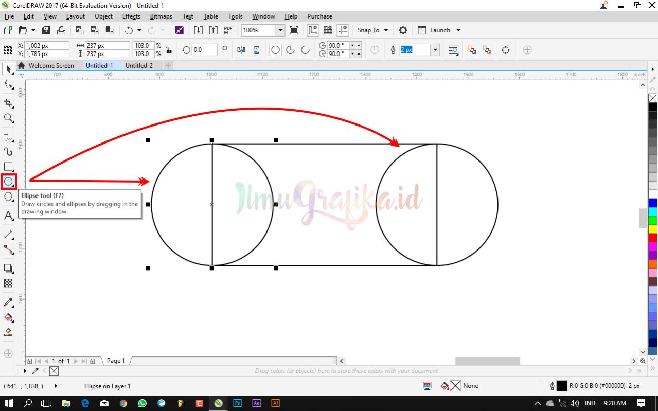 Lanjut buat dua buah Objek Lingkaran dengan menggunakan Ellipse Tool kemudian letakkan kedua lingkaran tersebut di sisi kanan dan kiri persegi panjang