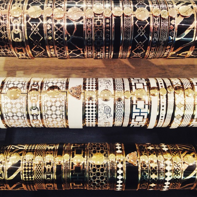 Halcyon Days stackable enamel bangles - luxury British jewellery - hand-decorated bracelets