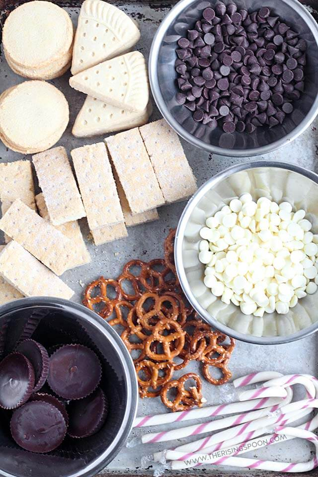 Ingredients for Chocolate Dipped Shortbread Cookies (Easy Dessert Recipe)
