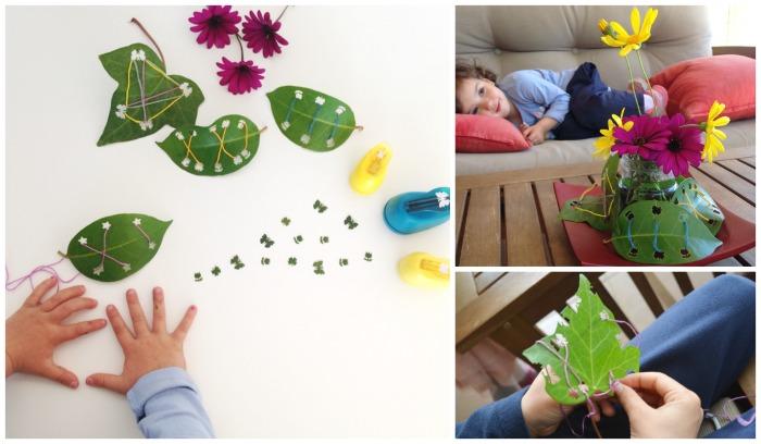 manualidad infantil creativa primavera: tejer hojas
