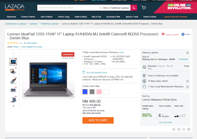 "Lenovo IdeaPad 120S-11IAP 11"" Laptop 81A400ALMJ (Intel® Celeron® N3350 Processor) - Denim Blue"