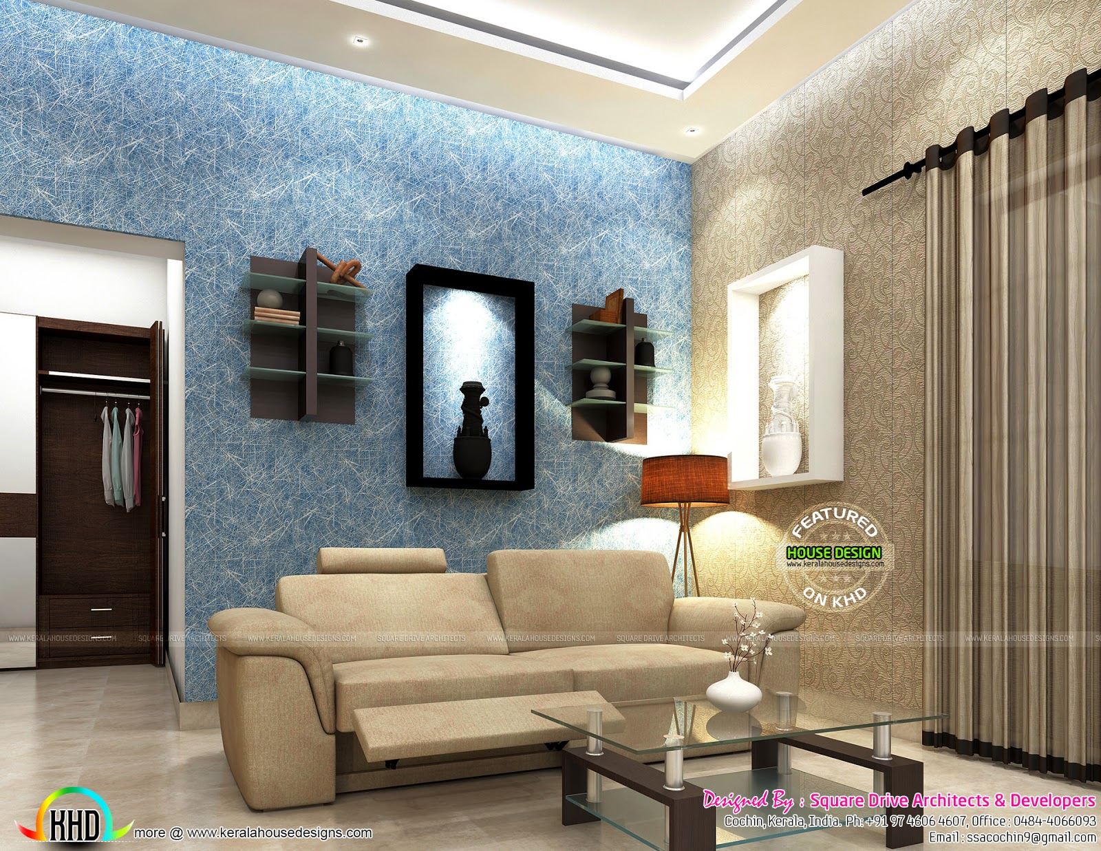 Living Room Designs Kerala Homes living room, bedroom, pink colored girls bedroom - kerala home