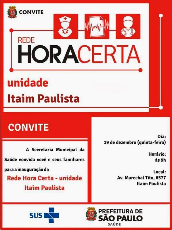 8651120ec25 Saúde Vila Maria Guilherme  19-12- Convite - Inauguração Rede Hora ...