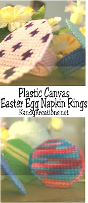 Create some fun and easy plastic canvas Easter egg napkin rings for your Easter table this year.  They are so simple and unique that you'll want to make a set for everyone's Easter basket!