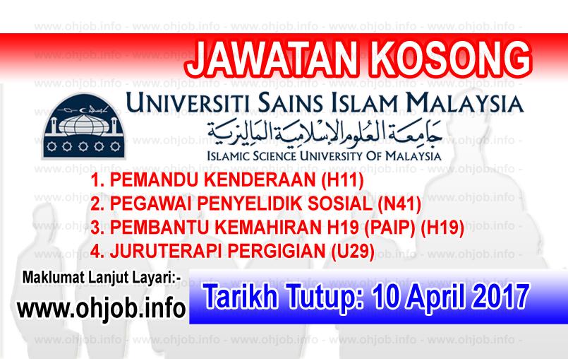 Jawatan Kerja Kosong USIM - Universiti Sains Islam Malaysia logo www.ohjob.info april 2017