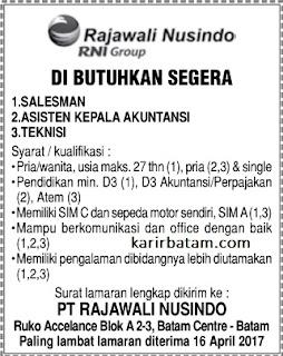 Lowongan Kerja PT. Rajawali Nusindo (Ditutup 16 April 2017)