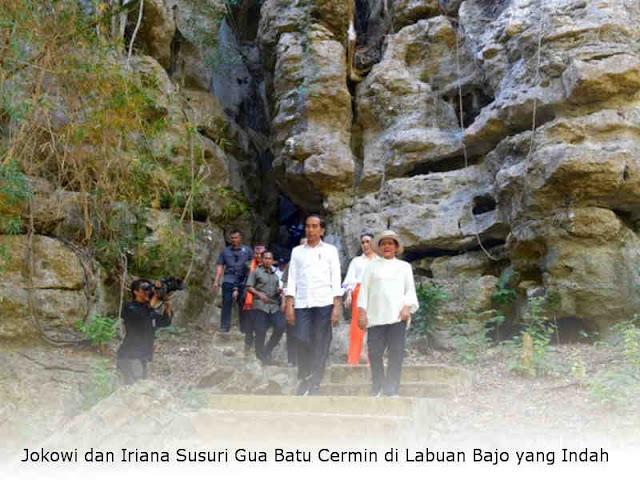 Jokowi dan Iriana Susuri Gua Batu Cermin di Labuan Bajo yang Indah