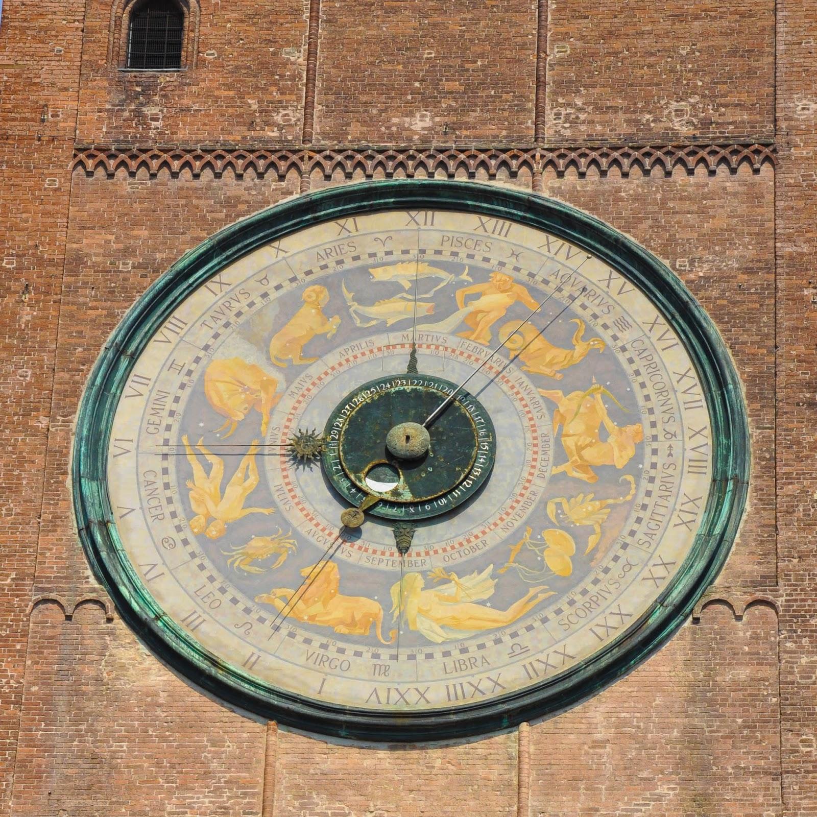 The astronomical clock, Campanile, Duomo, Cremona, Italy