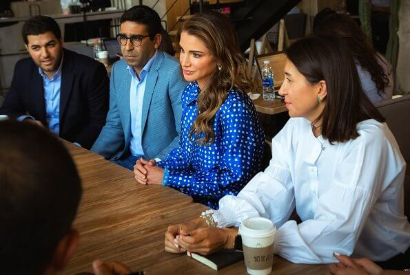 Queen Rania wore Marni Polka-dot cupro dress. Marni, cupro top skirt and shirt. She wore Christian Dior songe perspex heel blue pumps