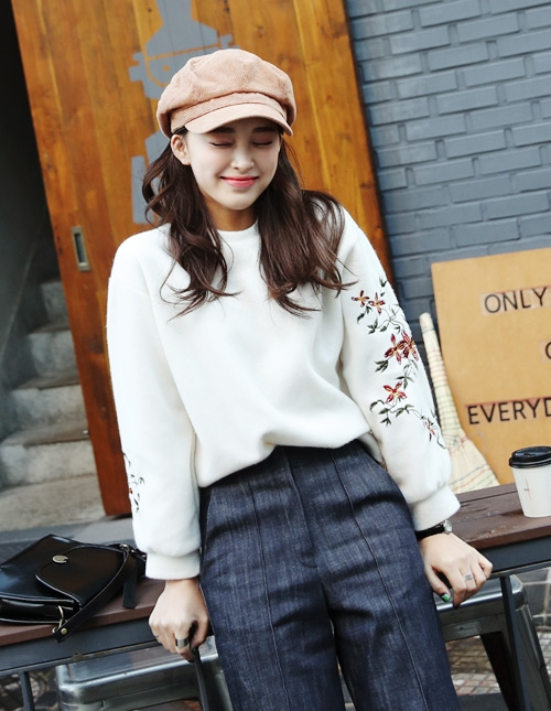 Flower Embroidery Sleeve Tee