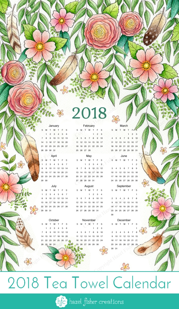 My entry to Spoonflower's tea towel calendar contest, Feathers and Flowers design by Hazel Fisher Creations