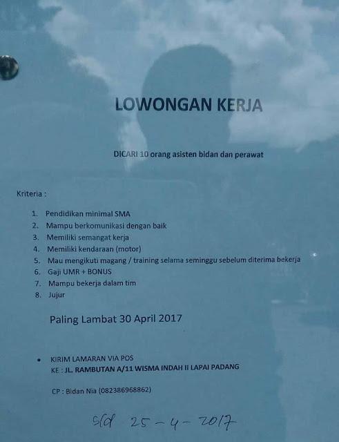Lowongan Kerja Padang: Asisten Bidan dan Perawat April 2017