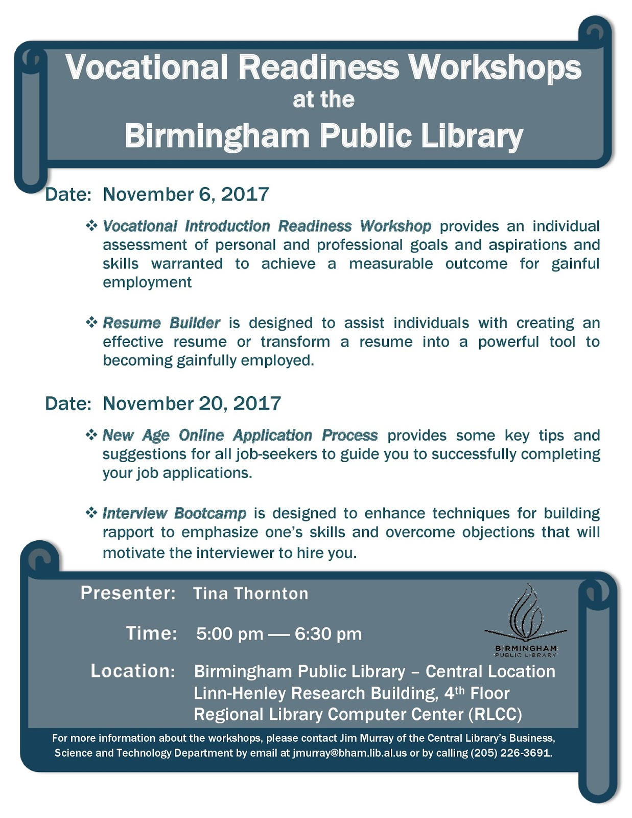 Birmingham Public Library: Vocational Readiness Workshops ...