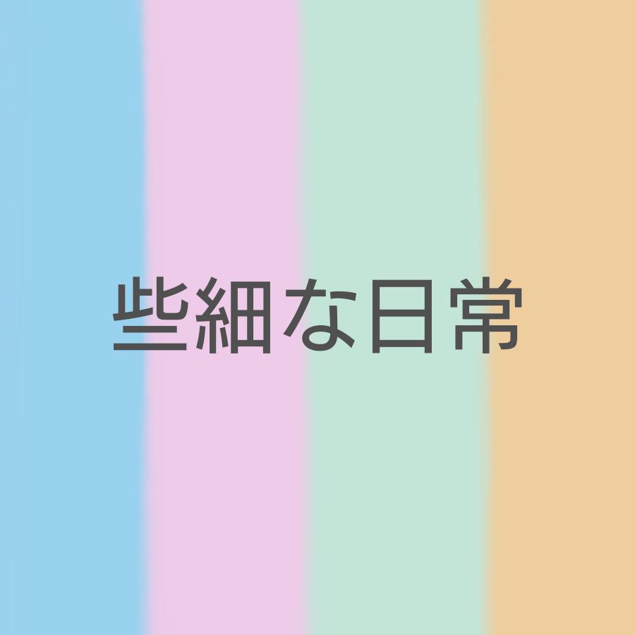 些細な日常の二番目のバナー(薄い水色とピンクと緑とオレンジのストライプの背景に大きめの文字)