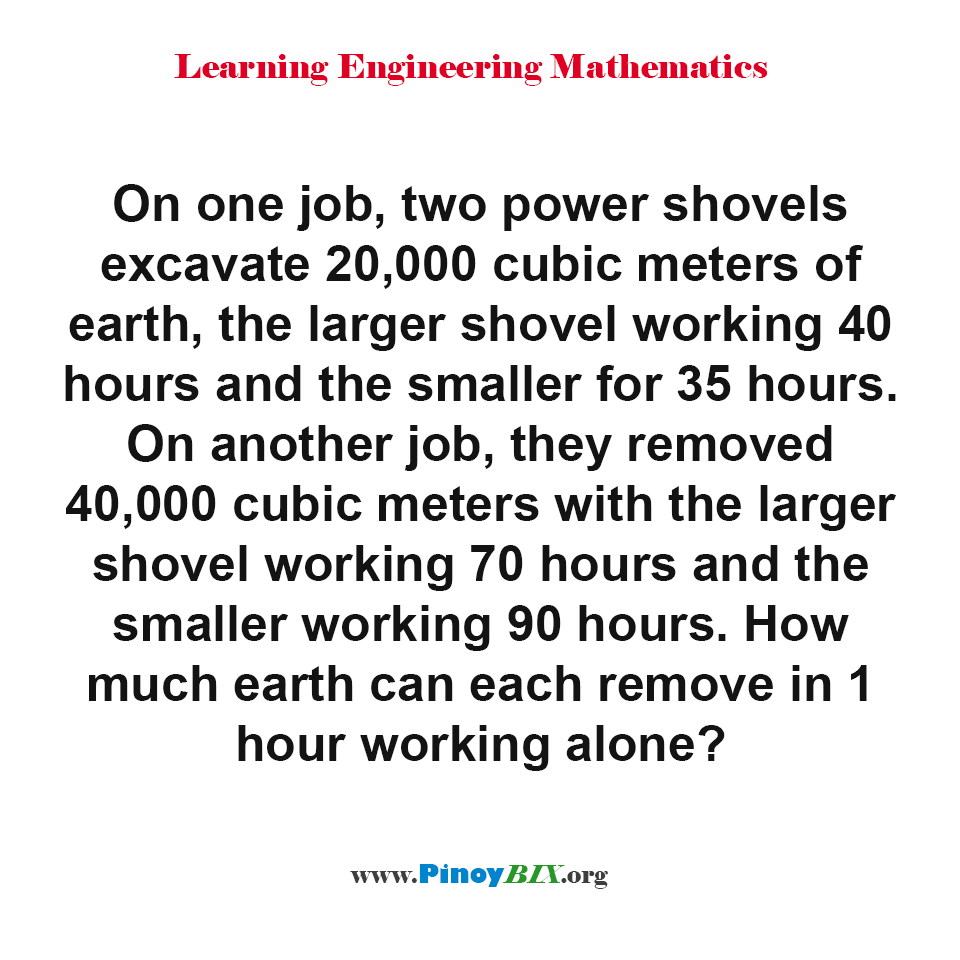How much earth can each power shovels remove in 1 hour working alone?