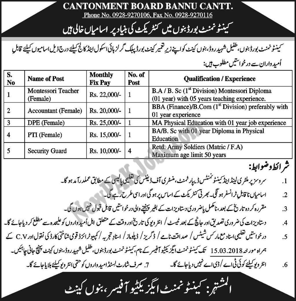 Montessori Teacher, Accountant, DPE,PTI, Security Guards jobs in KPK 2018