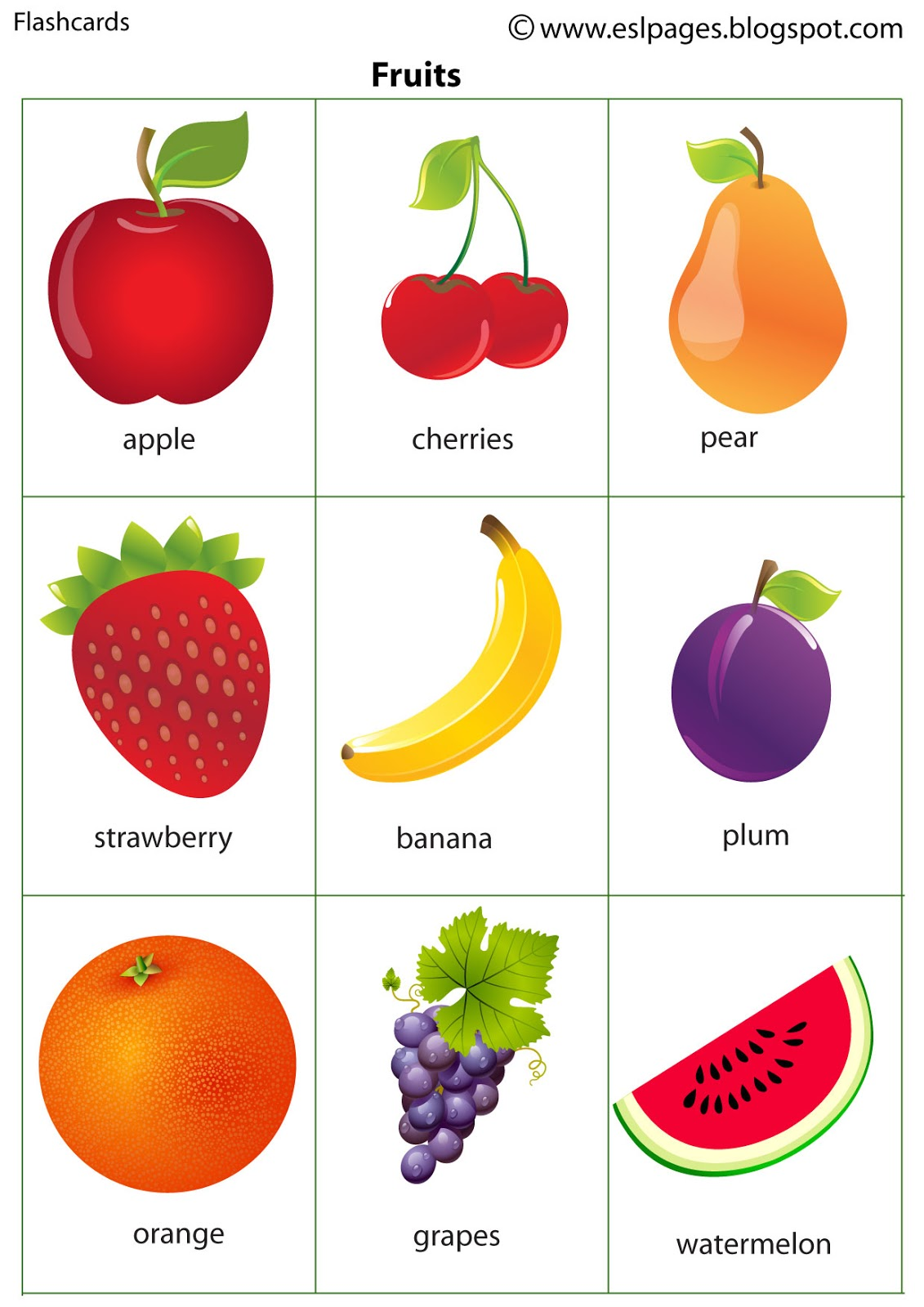Esl Pages Fruits