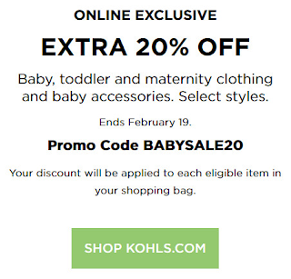 Kohls coupon 20% OFF baby clothing and accessories