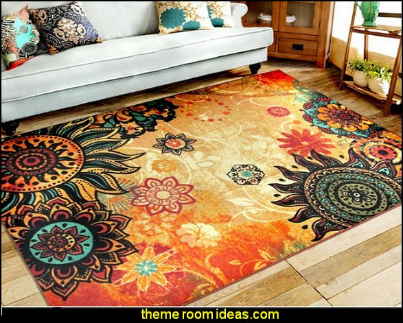 boho Retro Style Living Room Floor Carpets