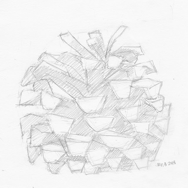 Daily Art 01-08-18 still life sketch in graphite number 97 - big pinecone