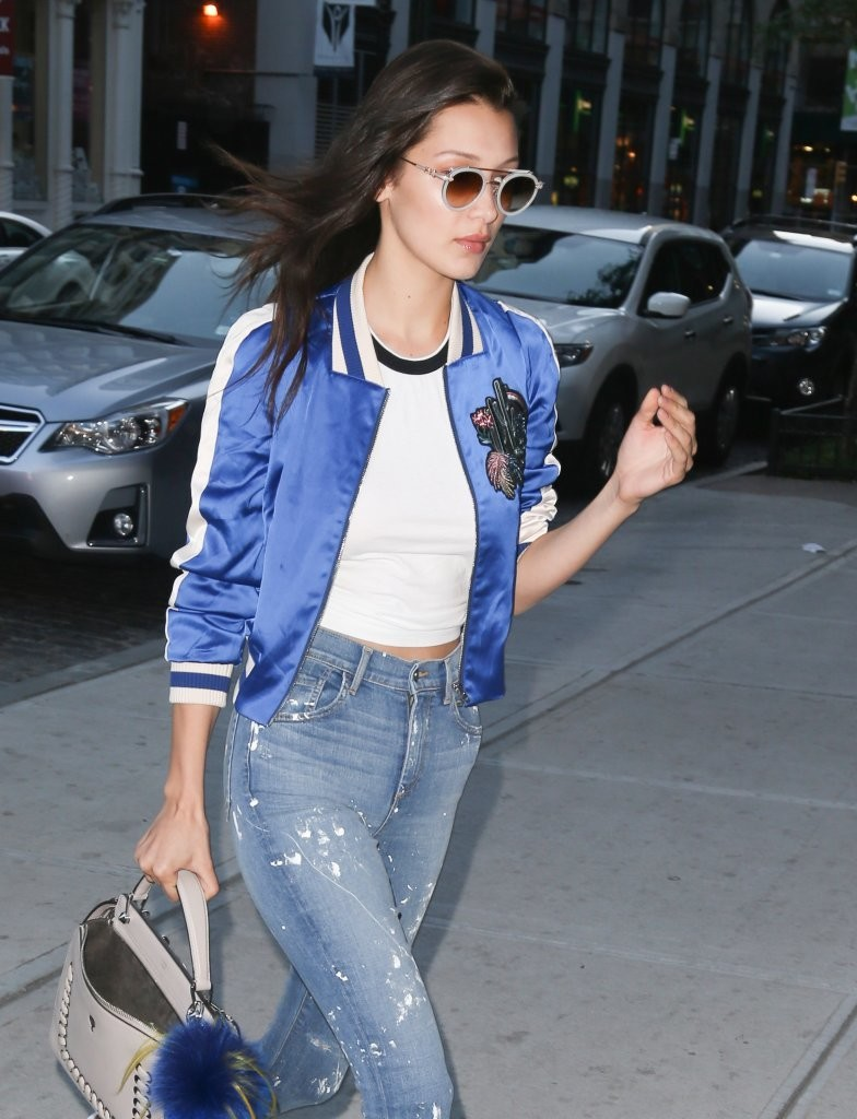 Bella Hadid Wears a Bomber Jacket Out in NYC