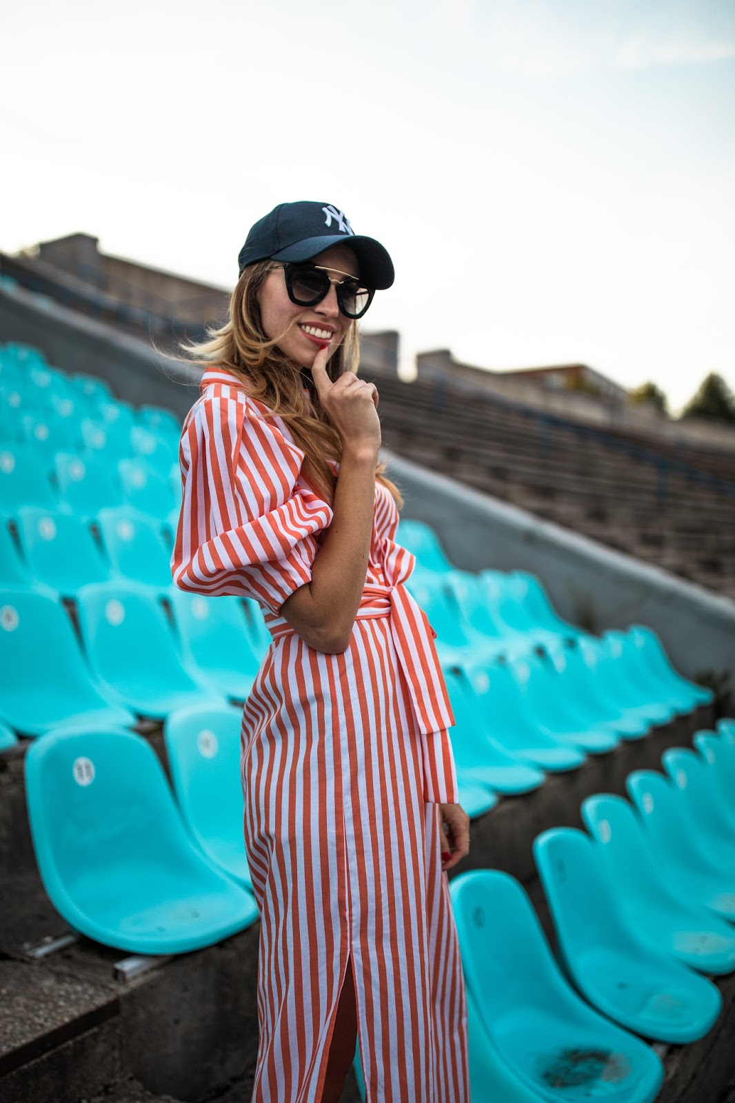 zara red striped dress outfit fall