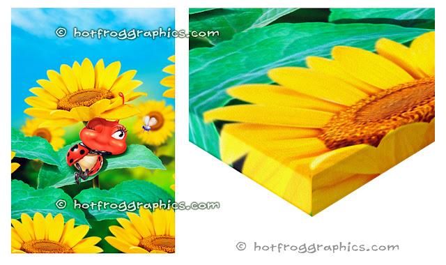 Wall canvas print with small ladybug sleeping on a sunflower