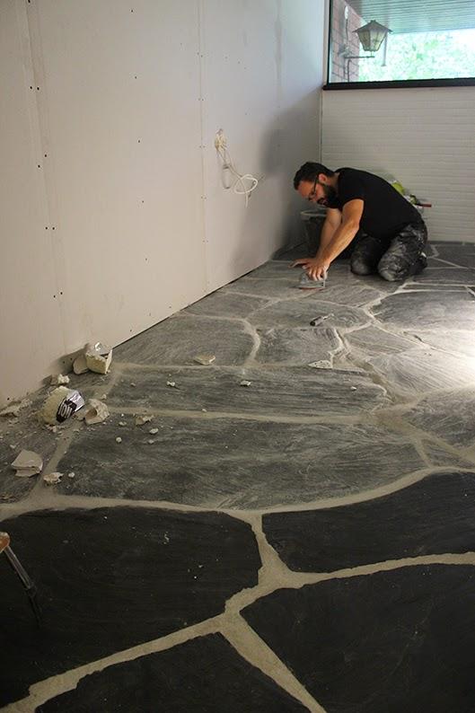Olive Green September - Sanding slate floor