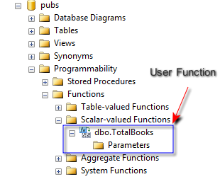 User Function in Database Tree
