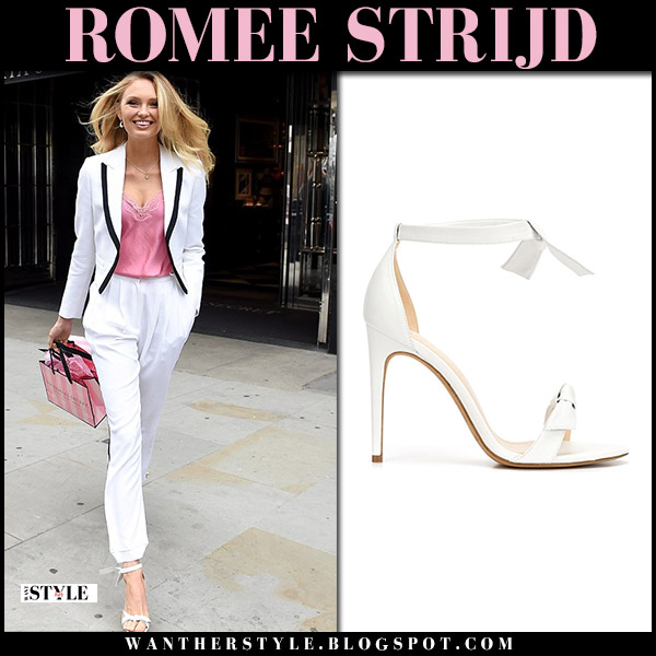 Romee Strijd in white suit and white sandals alexandre birman clarita model style august 22