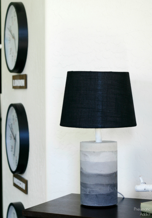 DIY gray ombre concrete lamp