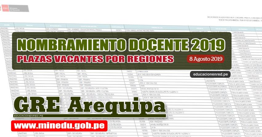 GRE Arequipa: Relación Final de Plazas Vacantes para Nombramiento Docente 2019 (.PDF ACTUALIZADO 8 AGOSTO) www.grearequipa.gob.pe