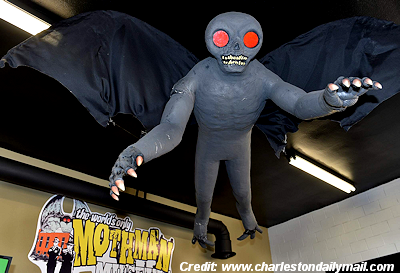 Replica of Mothman at Mothman Museum
