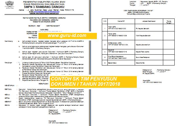 Contoh SK Penetapan Tim Penyusun Dokumen I Kurikulum SMP