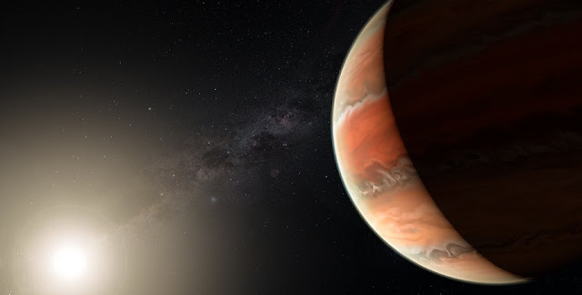 An artist's impression showing the exoplanet WASP-19b, in which atmosphere astronomers detected titanium oxide for the first time. In large enough quantities, titanium oxide can prevent heat from entering or escaping an atmosphere, leading to a thermal inversion — the temperature is higher in the upper atmosphere and lower further down, the opposite of the normal situation.  Credit: ESO/M. Kornmesser