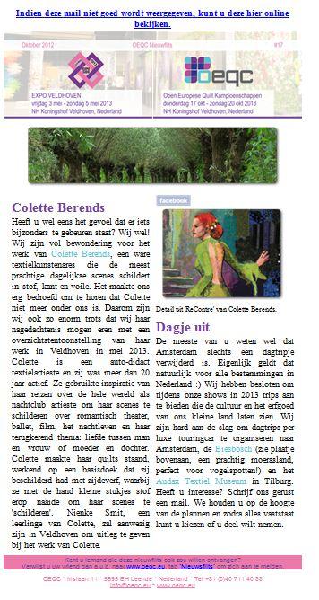 Colette Berends Quilten.Verfvirus Schrijf Vast In Je Agenda 3 T M 5 Mei 2013