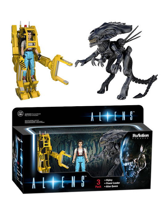 Aliens ReAction Figure 3 Pack Box Set by Funko – Ellen Ripley, Power Loader Suit & Alien Queen