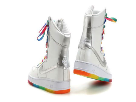 a4d78b3338dc9c ... high tops 6 inch silver swoosh. multi color air force one rainbow nike  boots