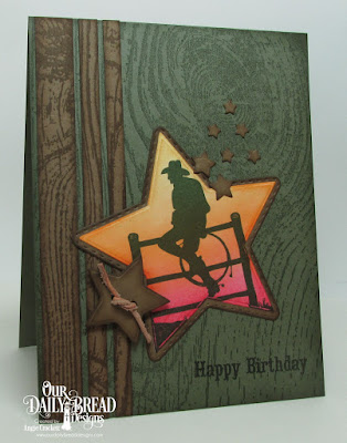 ODBD Ride 'Em Cowboy, ODBD Wood Background, ODBD Custom Sparkling Stars Dies, ODBD Custom Double Stitched Stars Dies, Card Designer Angie Crockett