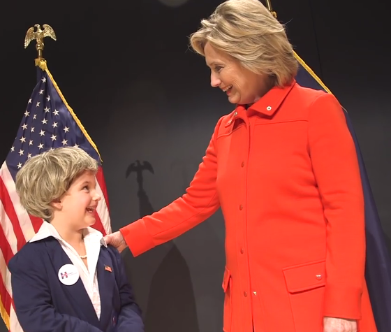 Hillary Clinton child mini-me look-alike impersonator kid brainwashed youth
