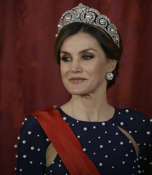 Queen Letizia wore a dress by Spanish fashion label Ana Locking kicked off its Spring - Summer 2017 , diamond tiara