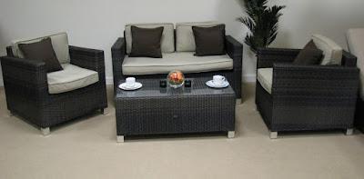 sofa tamu rotan sintetis modern