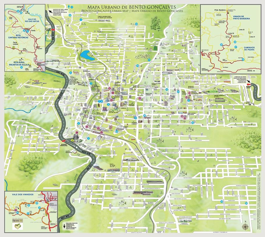 Mapa Urbano e Turístico de Bento Gonçalves